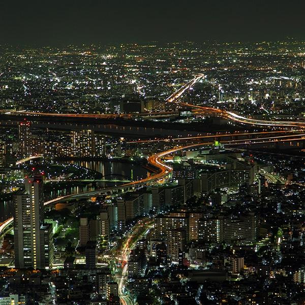 Epic Tokyo Night Aerial Cityscape Traffic Lanes